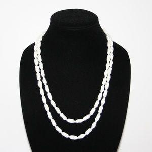 "Stunning long vintage ceramic beaded necklace 46"""